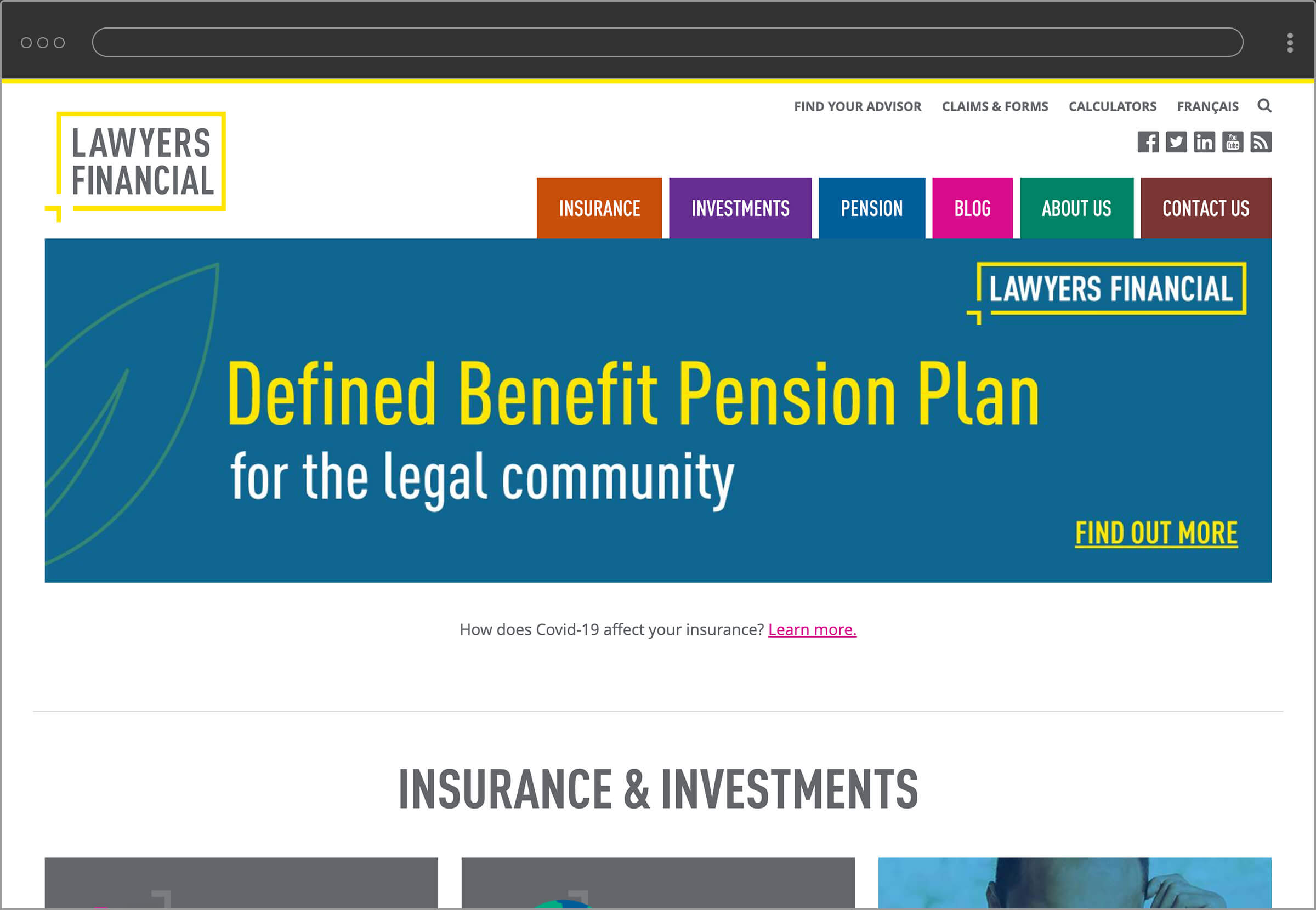 Lawyers Financial website home page