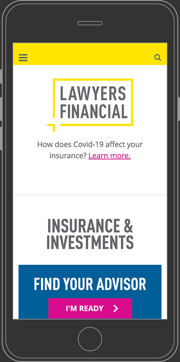 Lawyers Financial website home page on mobile