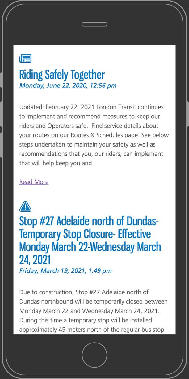 LTC website services page on mobile
