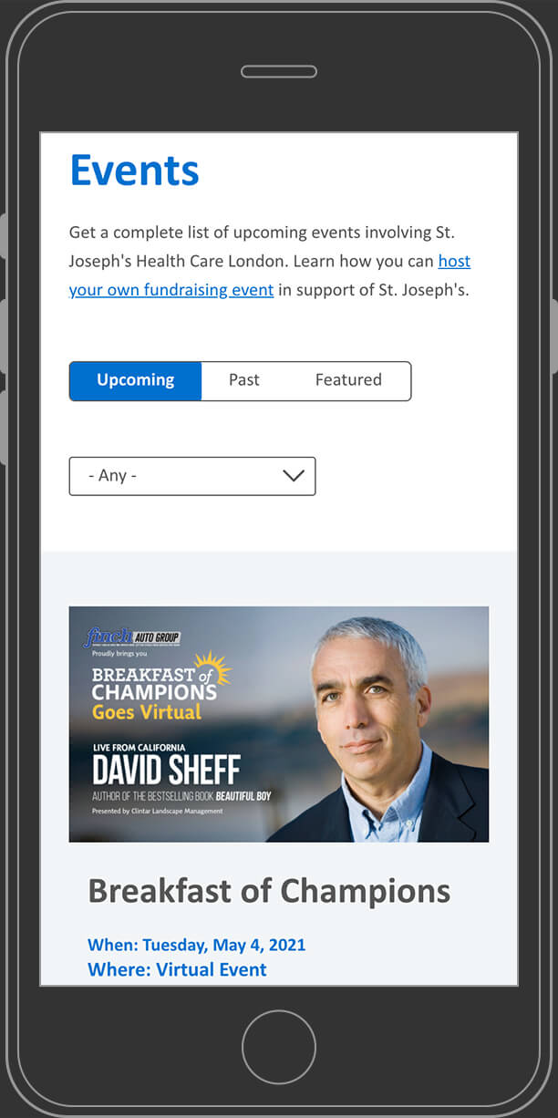 Website events page on mobile