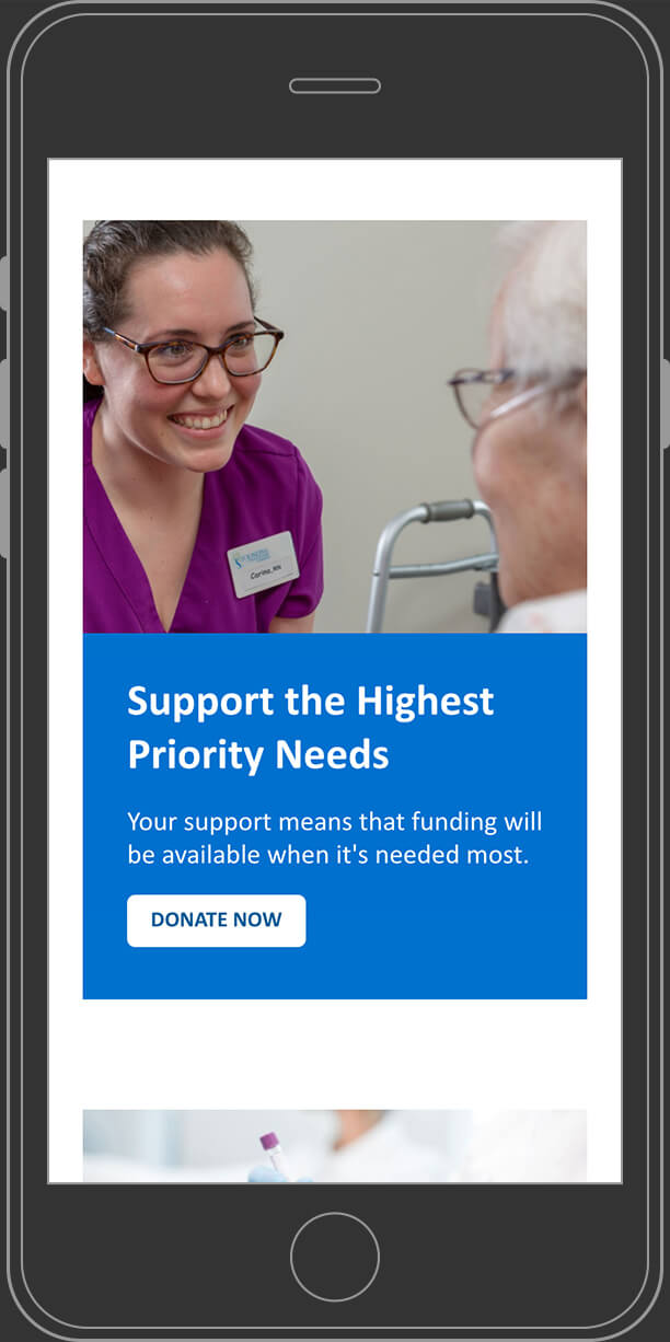 Website fundraising properties page on mobile