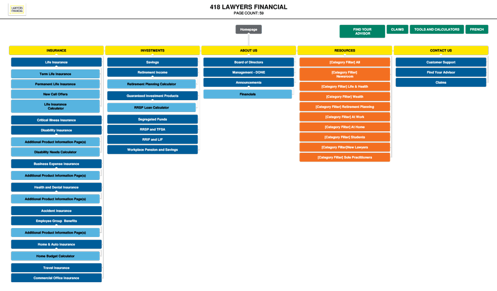 Sitemap for the Lawyers Financial website