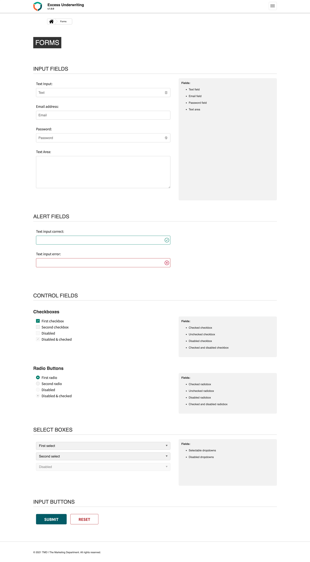 Style guide forms page