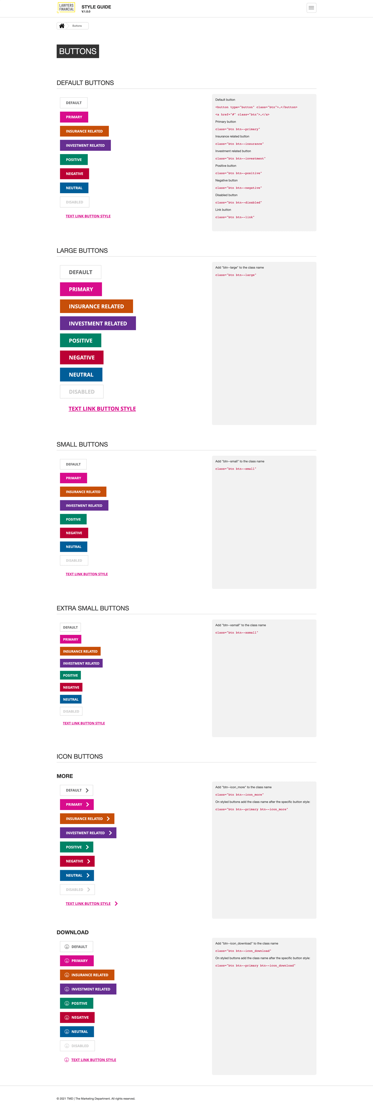 Style guide buttons page