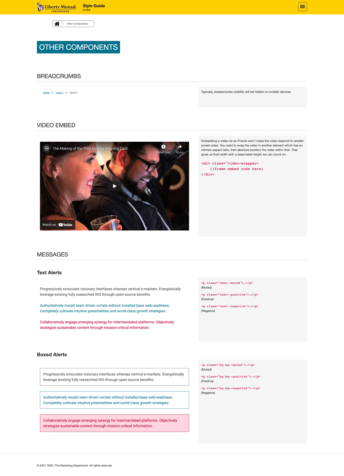 Style guide components page