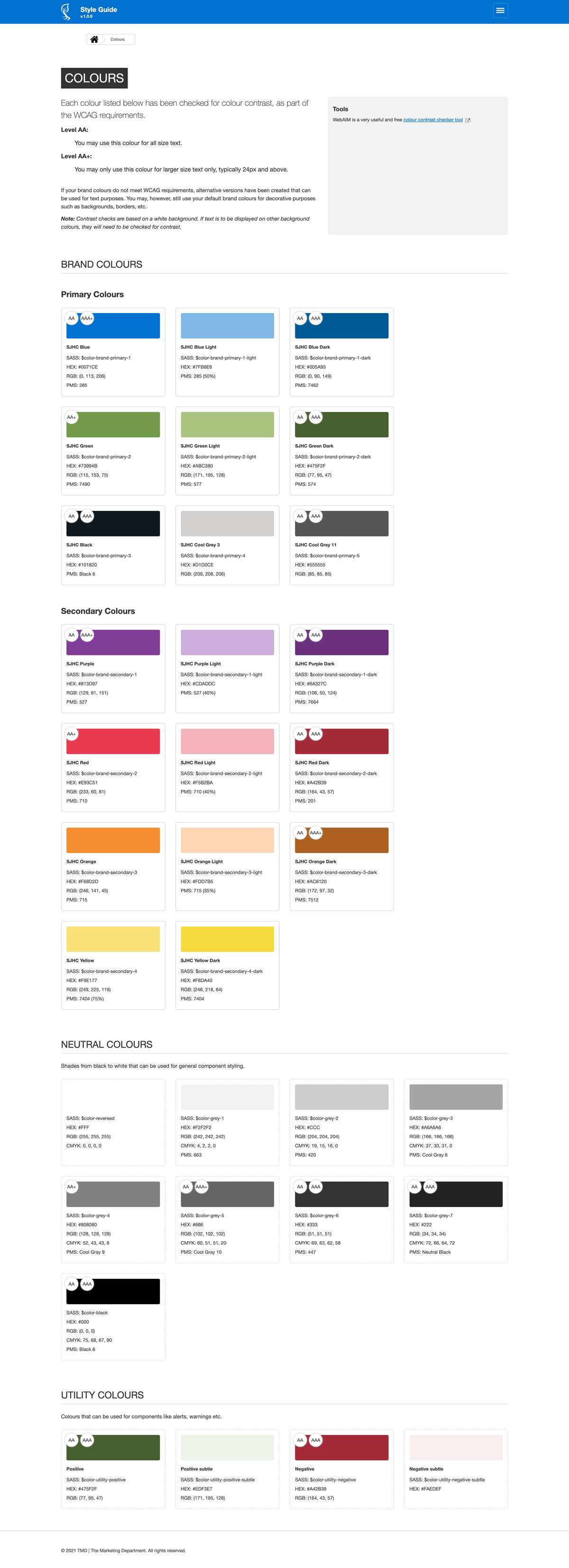 Style guide colours page