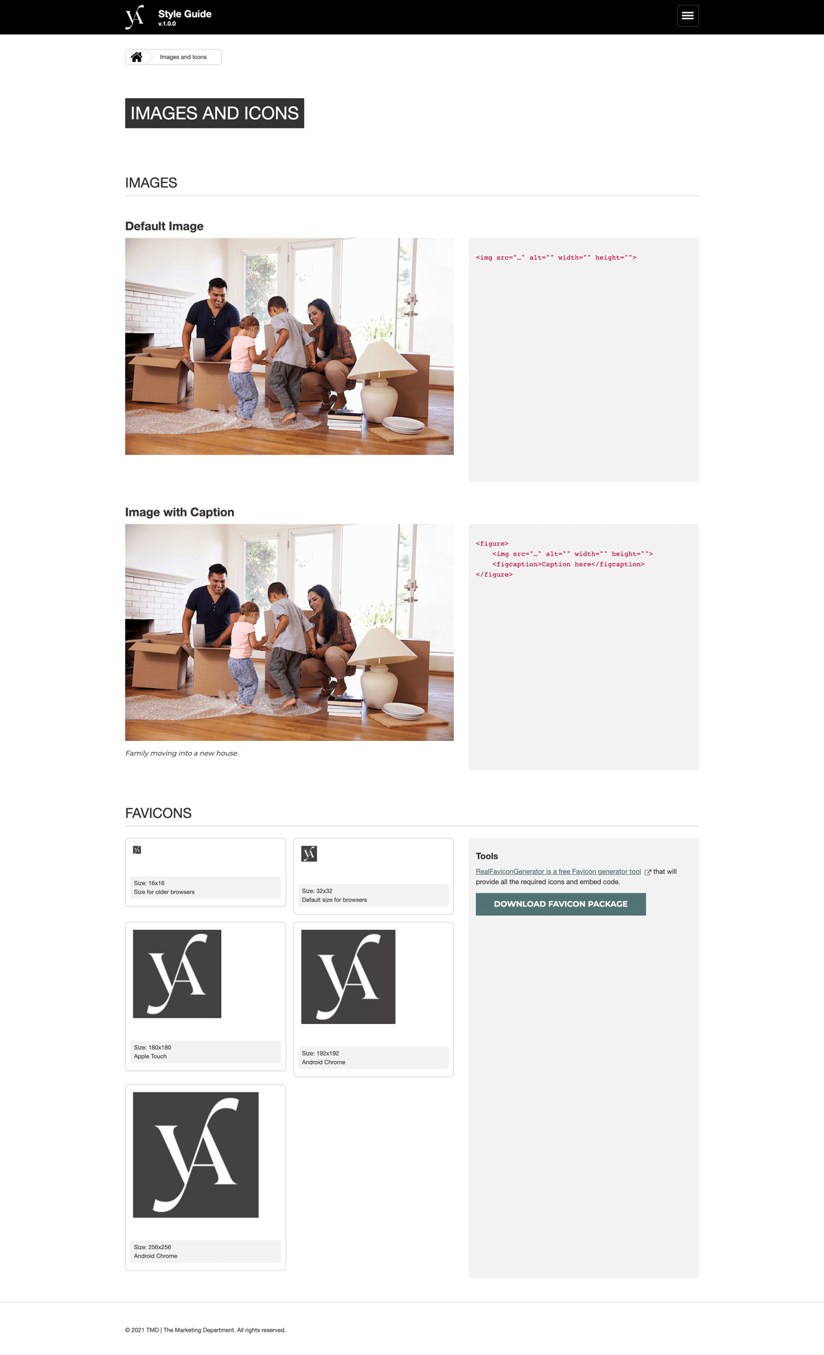 Style guide images and icons page