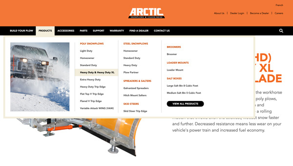 Website main menu