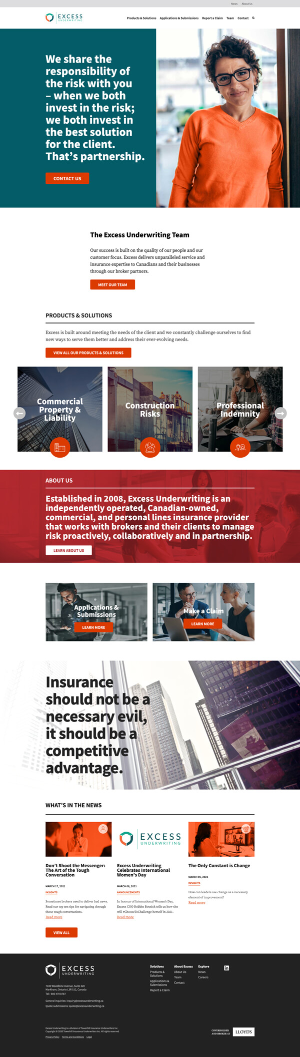 Excess website home page