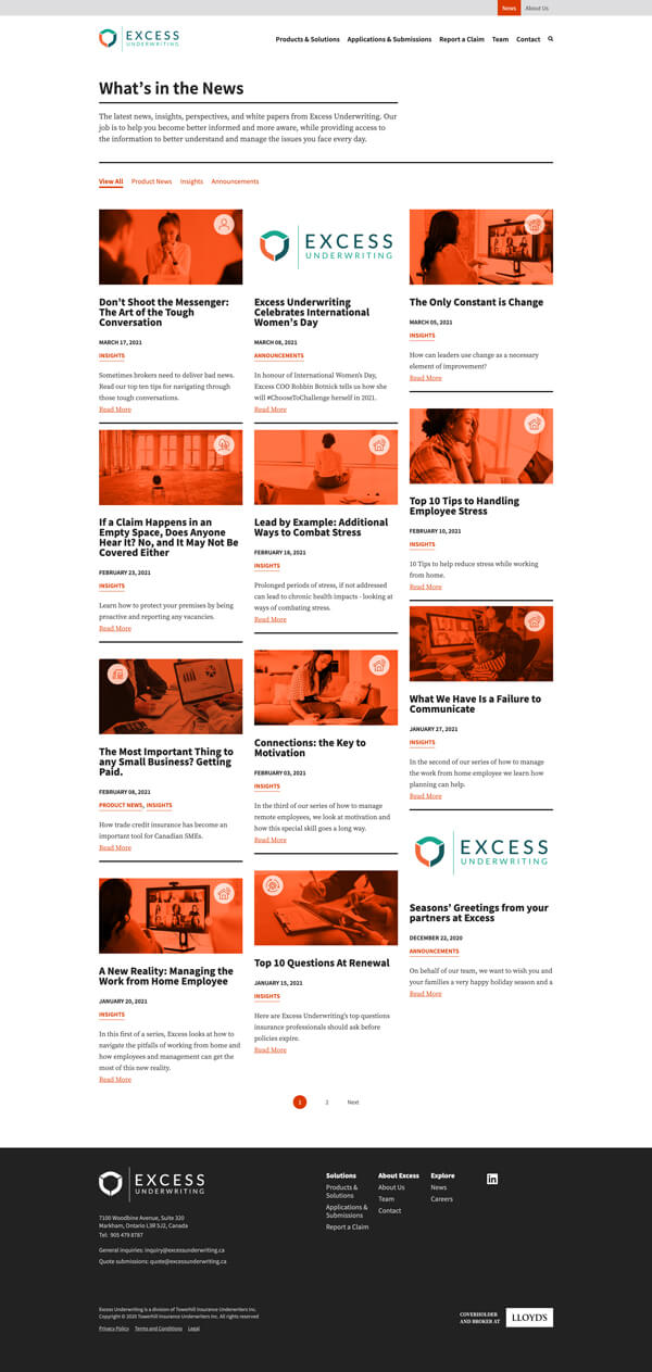 Excess website news page