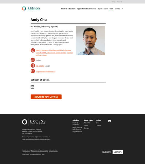 Excess website individual bio page