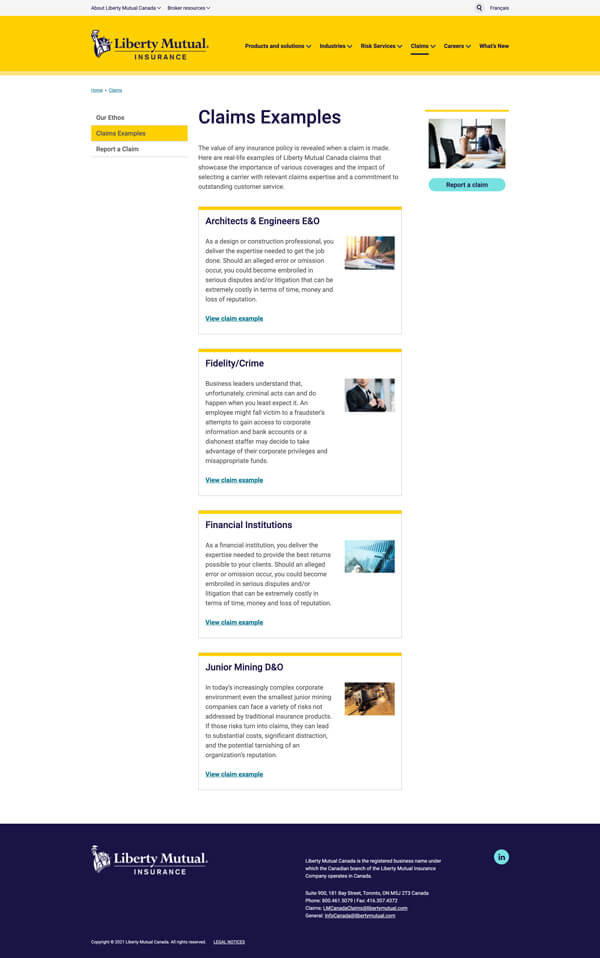 Liberty Mutual claims examples page