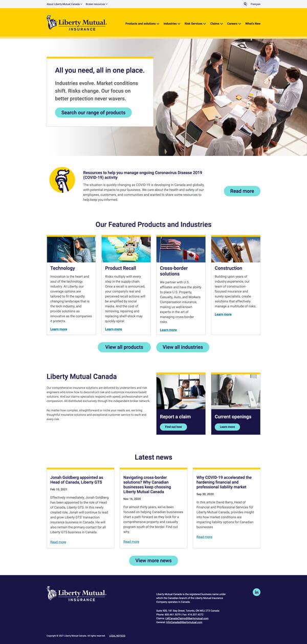 Liberty Mutual home page