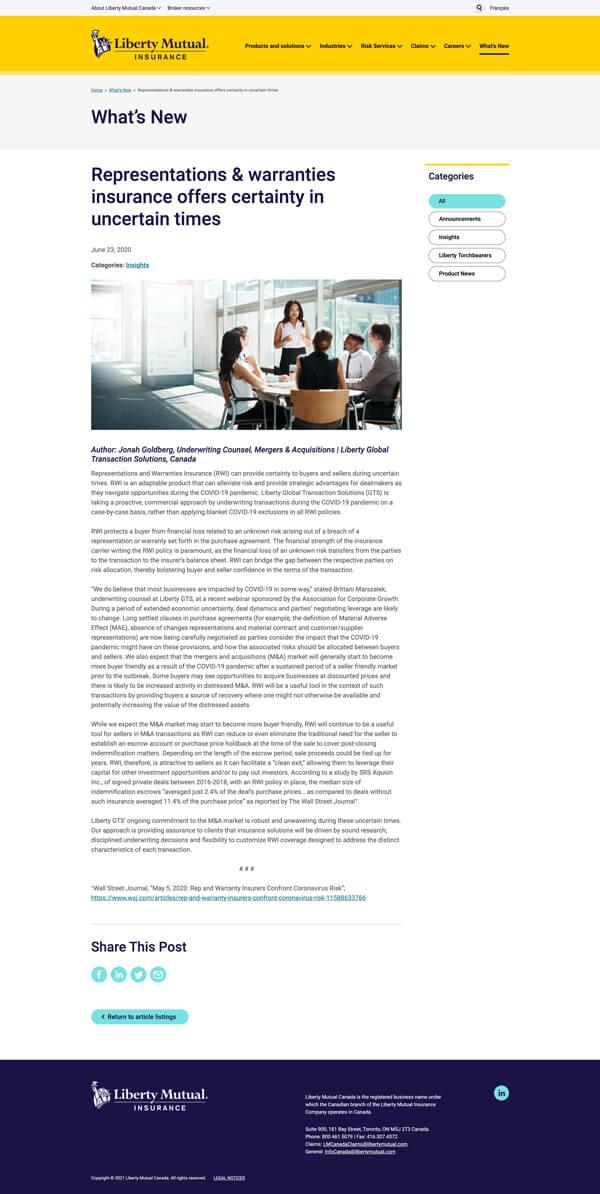 Liberty Mutual blog article page