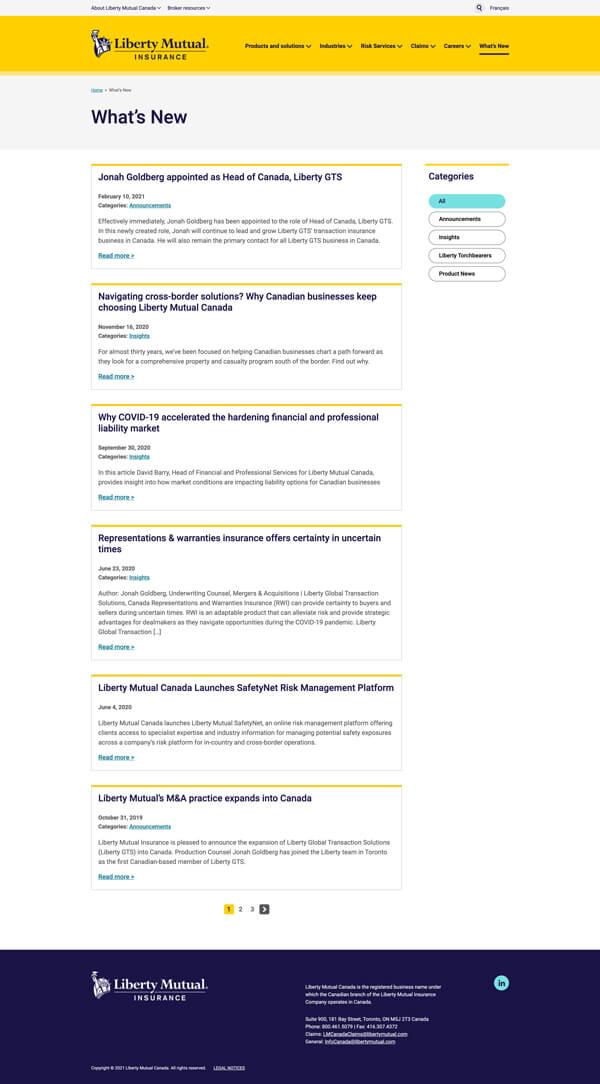Liberty Mutual blog listing page