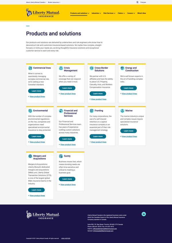 Liberty Mutual products and solutions listing page