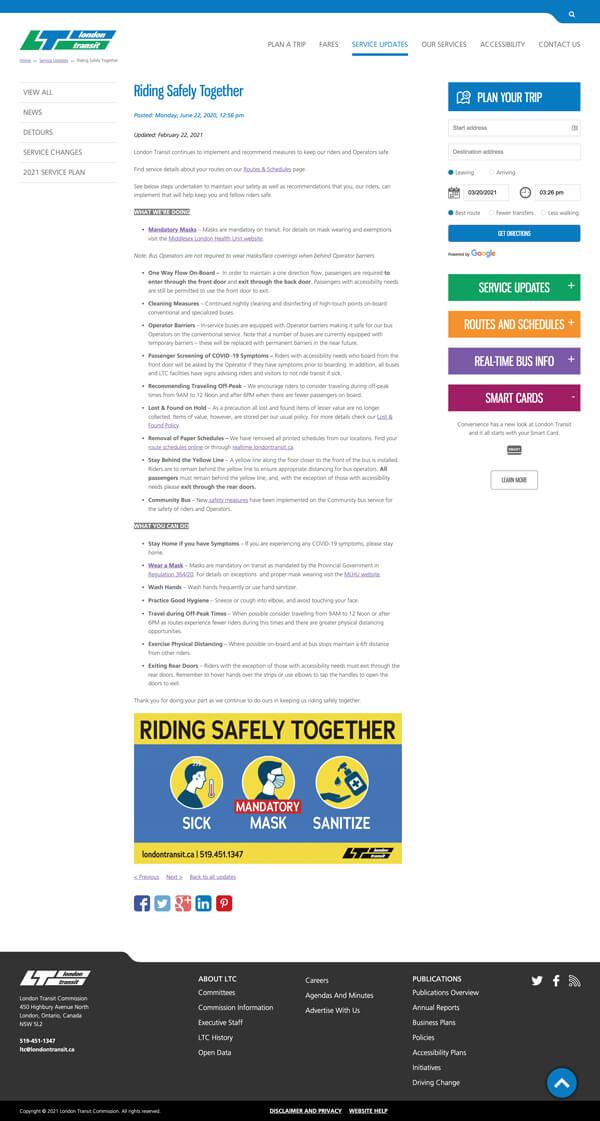 LTC website service info page