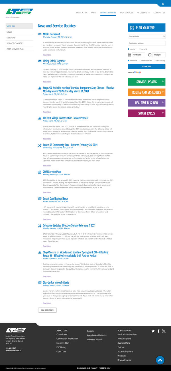 LTC website services listing page