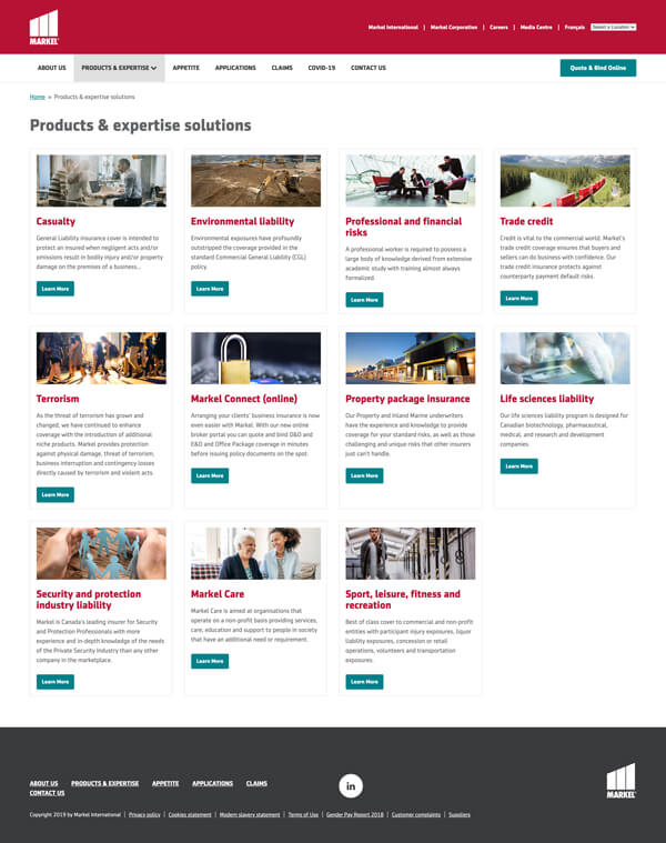 Website product and solutions page