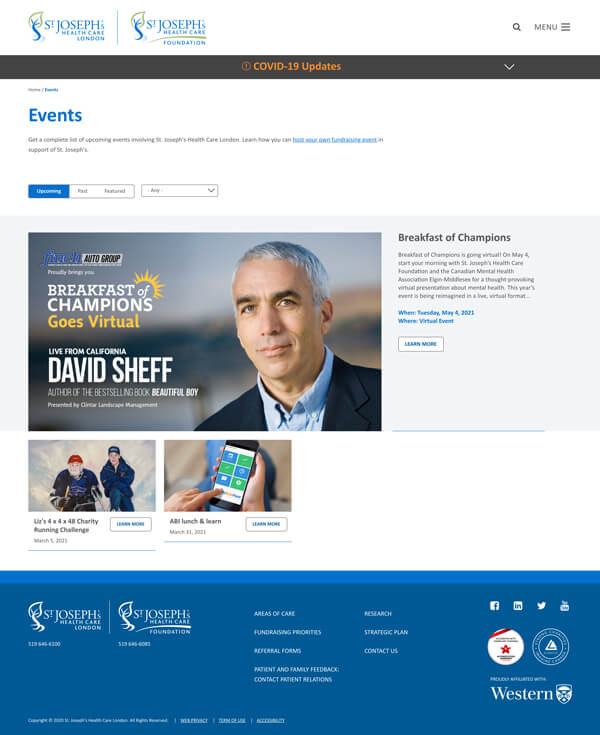Website events listing page