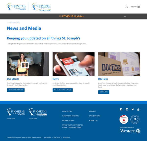 Website news and media page