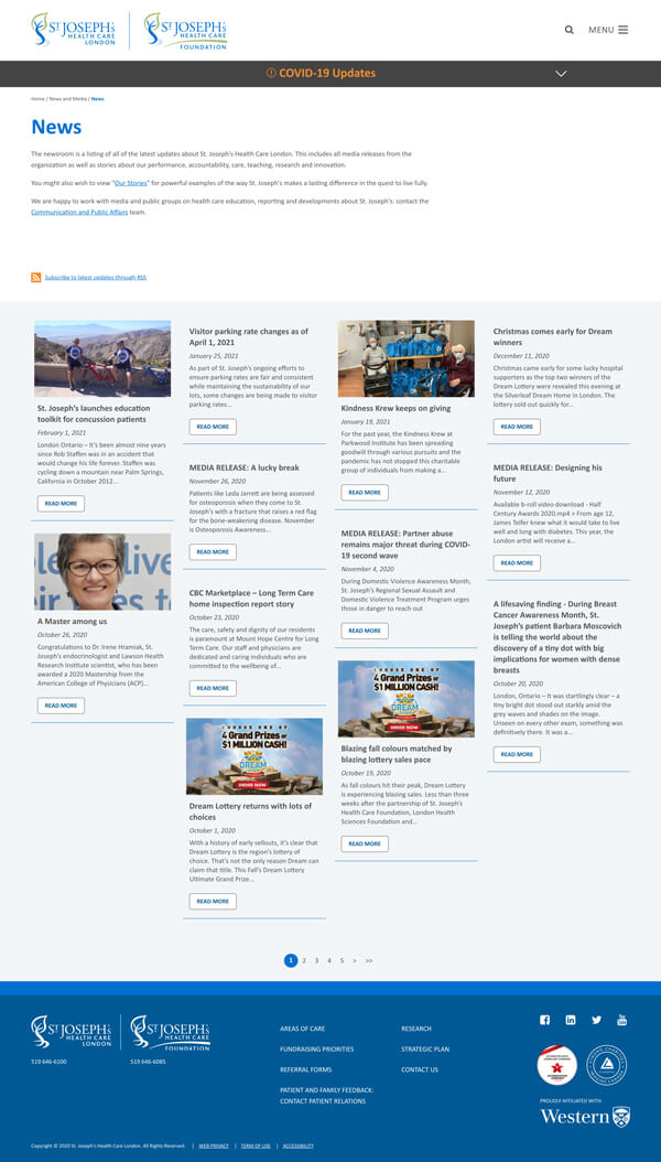 Website news listing page