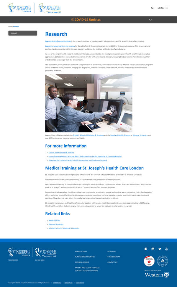 Website research page