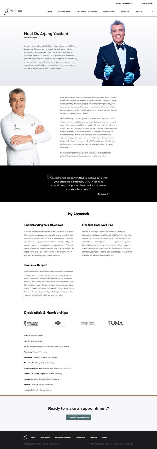 Website bio page