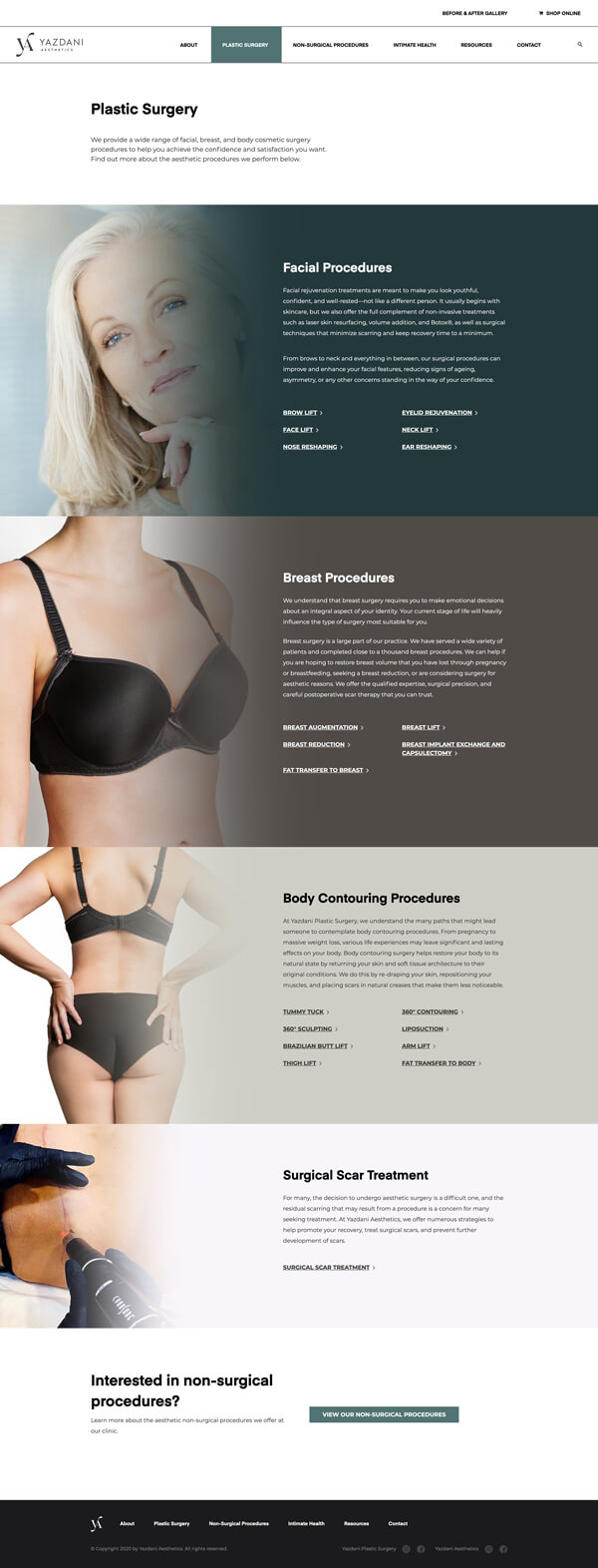 Website plastic surgery listing page