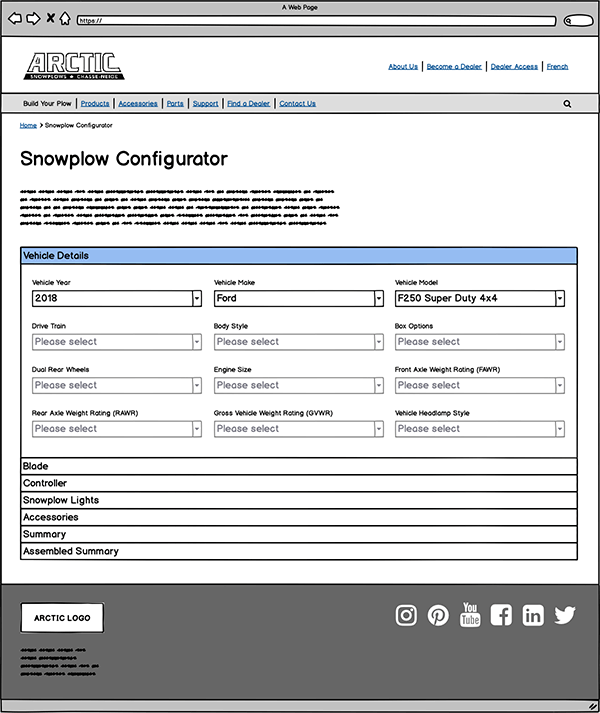 Wireframe of plow configurator page