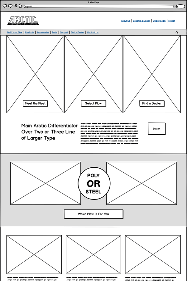Wireframe of home page