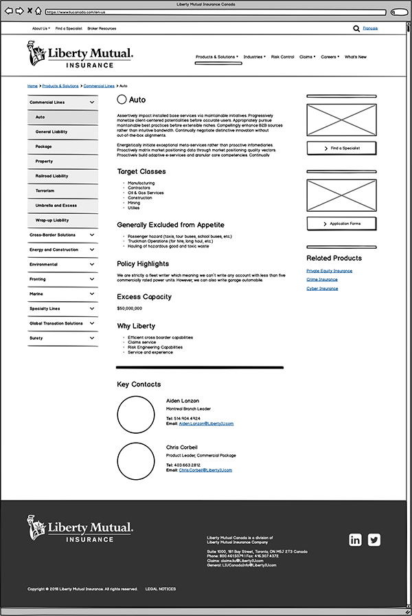 Liberty Mutual product info page wireframe