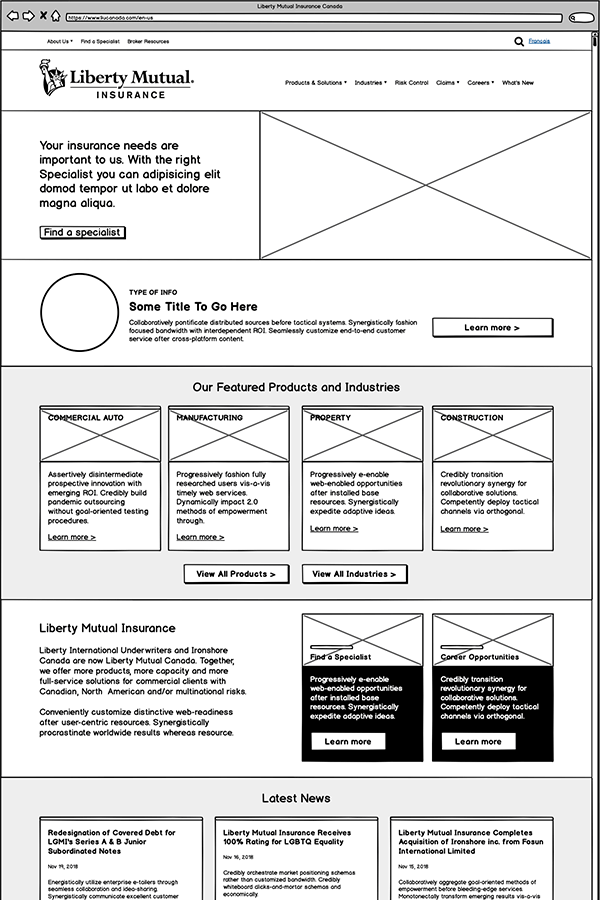 Liberty Mutual home page wireframe