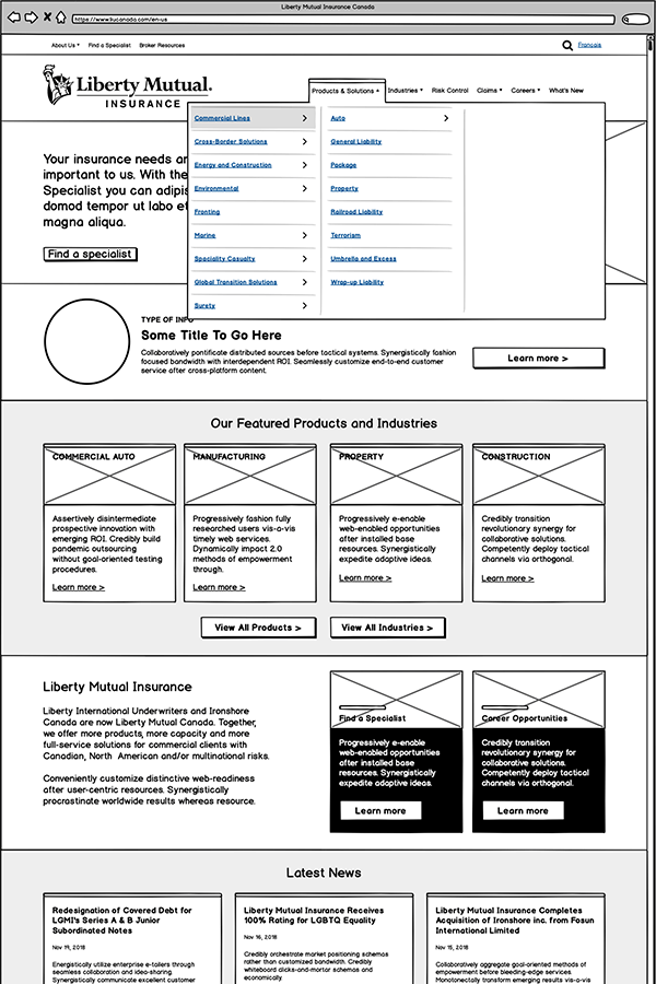 Liberty Mutual main menu wireframe