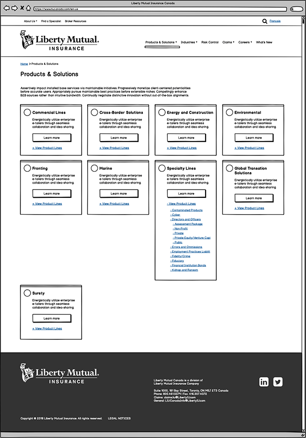 Liberty Mutual product page wireframe