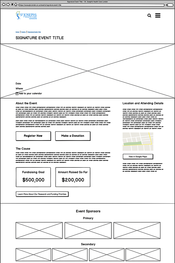 Wireframe of the event page