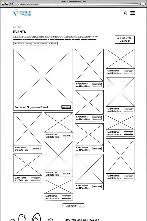Wireframe of the event listing page